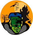 Frankenstein Haunted House Retro