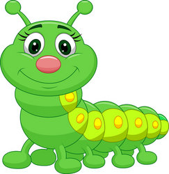 Cute green caterpillar cartoon stock vector