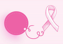 Breast cancer awareness ribbon with hang tag EPS10 file.