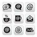 Email, internet cafe, wifi vector buttons set