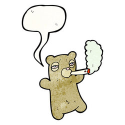 cartoon teddy bear smoking marijuana stock vector