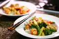 Chinese Stir Fry on White Plate