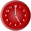 Red wall clock illustration at 5pm/am
