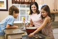 Family making cookies.