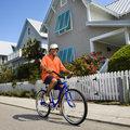 Man bicycling.