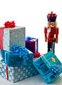 Nutcracker guarding presents