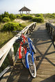 Bicycles at beach.