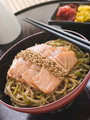 Sesame Crusted Salmon Fried Noodles and Pickles