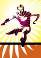 Athlete jumping hurdle