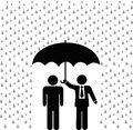 Businessman insurance agent holds umbrella over insured person
