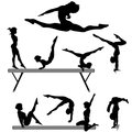 Female gymnast silhouette balance beam gymnastics exercises
