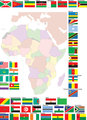 Flags and map of Africa