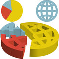 Global 3D Financial Pie Chart of Globalization Data