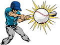 Illustration of baseball player hitting baseball