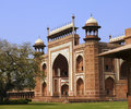 Side view of the Entrance to the Taj Mahal at Agra, India