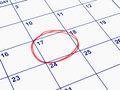 A date circled on a calendar.