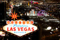 Las Vegas Welcome Sign With Night Time Strip in the Background