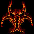 Fiery Biohazard Over Black