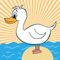 Duck out of Water Cartoon Character - Vector Illustration