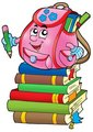 Pink school bag on books