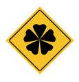 Lucky four leafy clover roadsign
