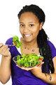 Girl having salad
