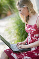 Young Woman Outside With Laptop