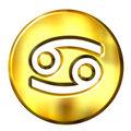3D Golden Cancer Zodiac Sign