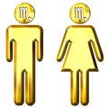 3d golden Scorpio man and woman