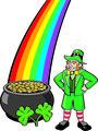 Leprechaun, Pot o' Gold, Shamrocks and Rainbow