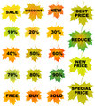 Autumn leaves price tags