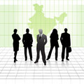 Team of business men with india map background