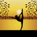 Human doing yoga with river and sun background
