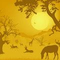 Silhouette of wildlife, animals, trees, sun