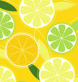 Vector - Citrus fruit background vector - Lemon, Lime and Orange