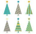 Vector - Retro christmas trees icon set