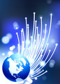 Globes on fiber optic internet background