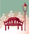 Wood chair ,streetlight ,snowflake
