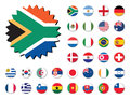 Countries flags badges stickers