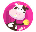 Happy cow character with bell - farm animal