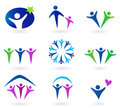 Community, network and social icons - blue, green and pink