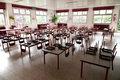 Empty school dining hall