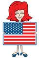 Cartoon lady holding American flag