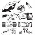 Retro hands set (vector)