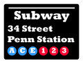 34 street subway sign