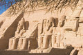 Statues of stone in the temple of abu simbel, Egypt
