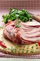 Lamb meat cut into steaks