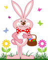 Pink rabbit with a basket of easter eggs