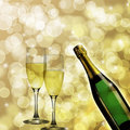 Champagne Bottle and Two Glasses Bokeh Background
