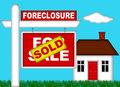 Real Estate Home Foreclosure with Sold Sign